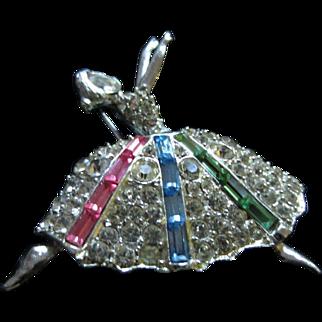 Shimmering PELL Diamanté Ballerina Brooch