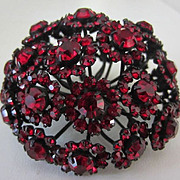 WARNER Amazing Garnet Rhinestones & Japanned Flower Puff Brooch