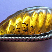 Carved Honey Amber & Sterling Brooch, Leaf Shape