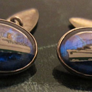 Rare Butterfly Wing & Sterling Cufflinks, Empress of Canada Ship
