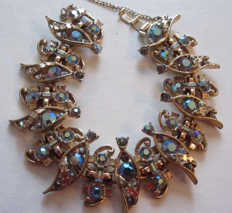 Bijoux American Vintage : Glamorous hollycraft blue ab bracelet bijoux