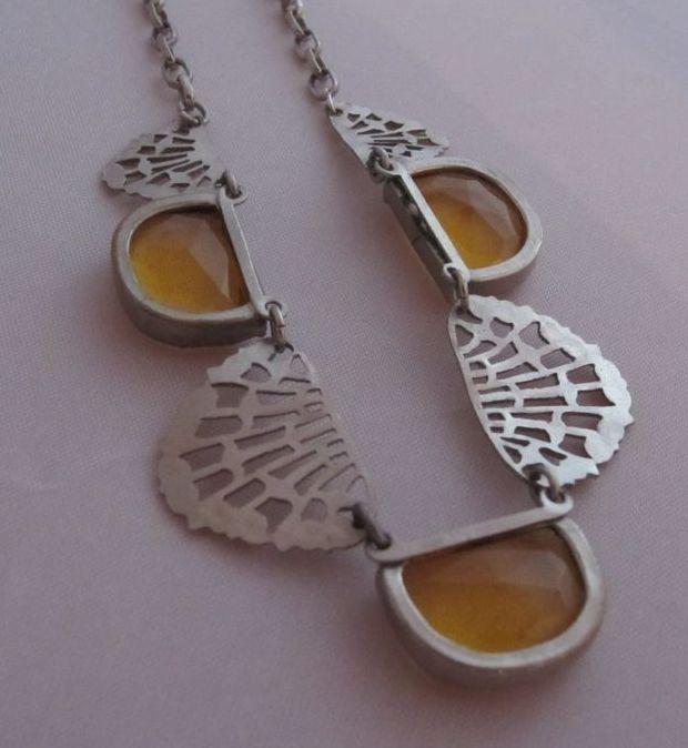 Art deco czech topaz glass fan shape filigree metal