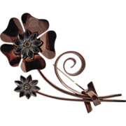 Coro Craft Sterling and Rose Gold Vermeil Long Double Flower Pin, Retro Moderne, early 1940's