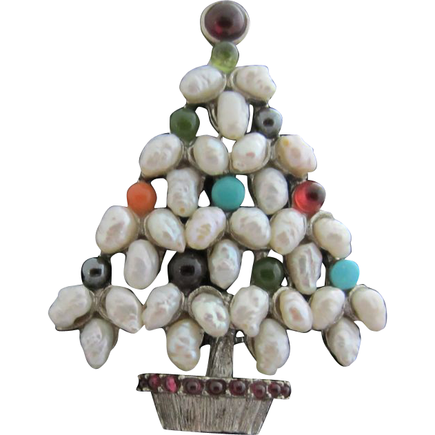 Swoboda rice pearls gemstones christmas tree pin from