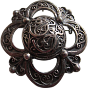 Incredibly Ornate A. Holthe Norway Pewter Pin/Pendant