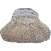 Ivory Colour Beads Art Deco Evening Bag, Handmade in Belgium - Wedding Idea