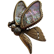 Outstanding Original by Robert Shell, Simulated Pearl & Diamond Butterfly Brooch