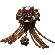 FLORENZA Faux Ruby, Opal and Turquoise Florentine Style Brooch with Tassel