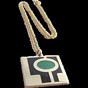 dePassillé-Sylvestre Canadian Modernist Enamel Pendant Necklace, c.1970's