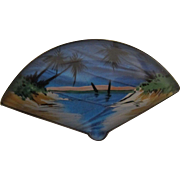 T.L.M. (Thomas L. Mott) Sterling Reverse Painted Butterfly Wing Fan-shaped Tropical Scene Pin, c. 1920's-1930's