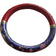 Carved Cinnabar and Royal Blue Cloisonné Bangle Bracelet