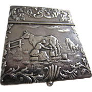 Extraordinary Repoussé Silver Pastoral Scenes Small Lidded Box - Stamps/Vesta/Bijoux/Snuff