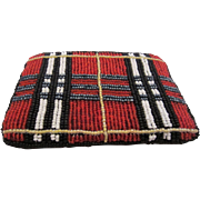 Bright Plaid Beaded Change Purse
