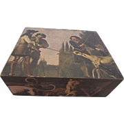 Hinged Wooden Box with Hunting Dogs Scenes