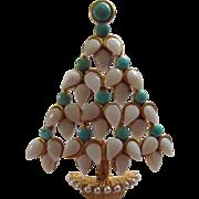 SWOBODA Opal, Turquoise and Pearls Christmas Tree Pin