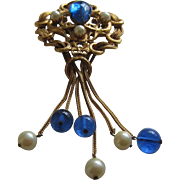 Baroque Style Large Brooch with Blue Glass and Pearl Tassels