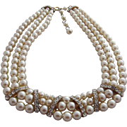 Gorgeous Simulated Pearl and Clear Rhinestone Triple Strand Collar Necklace