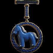 Outstanding Celluloid Blue Horse Pendant Brooch