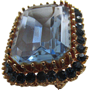 Fabulous CADORO Blue Crystal Antique Style Brooch