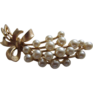Crown TRIFARI Simulated Pearls Flower Spray Brooch, c. 1960's