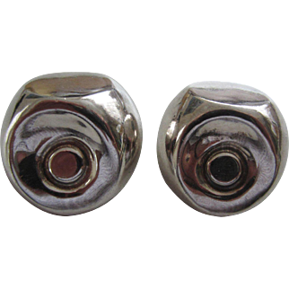 Signed Sterling Silver Modernist Earrings