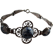 Delft Porcelain and Silver Filigree Bracelet Painted with Windmills