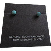Native American Indian Handmade Turquoise and Sterling Stud Earrings on Original Card