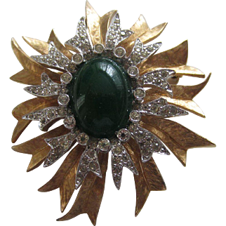 JOMAZ Classic Design Faux Jade and Diamanté Brooch, c. 1960's