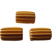 Three Butterscotch Bakelite Buttons Shaped Like Small Logs