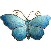 David Andersen Luminous Turquoise Enamel and Sterling Vermeil Butterfly Brooch - Unused in Original D-A Box
