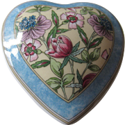 Pretty Wedgwood English Bone China Heart Shaped Lidded Box with Flowers, SARAH, 1995
