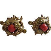 Beautiful MIRIAM HASKELL Russian Gold Plated and Coral Glass Ornate Earrings