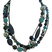 JOAN RIVERS Classics Collection Four Strand Shades of Blue Necklace in Original Pouch and Box