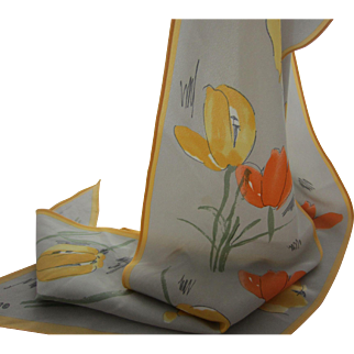 Lovely VERA Soft Grey with Yellow and Coral Tulips Long Silk Scarf