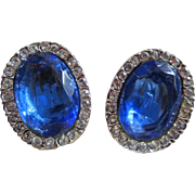Large Deep Blue and Clear Crystal Earrings, c. 1950's