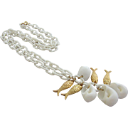NAPIER White Seashells and Gold Plated Fish Pendant Necklace