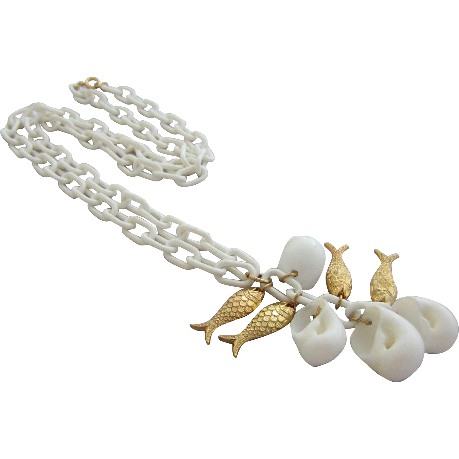 Napier white seashells and gold plated fish pendant for Gold fish pendant