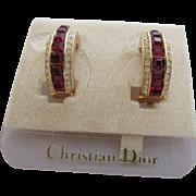 CHRISTIAN DIOR Ruby Red and Clear Rhinestone Demi Hoop Earrings