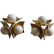 ORENA Paris White Beads and Goldtone Discs Earrings, c. 1980's