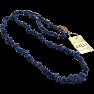 Genuine Lapis Lazuli Deep Blue Stones Necklace with Original Tags