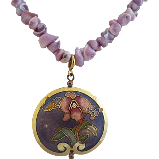 Lavender Shell Necklace with Two Closionné Pendant Enhancers and Matching Earrings, c. 1970's