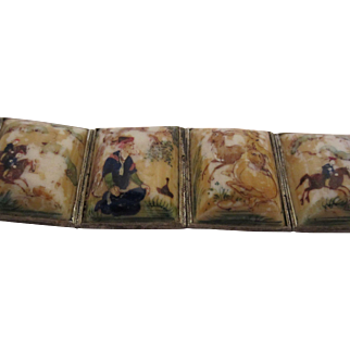 Painted Hunting Scenes on Bone Persian Bracelet