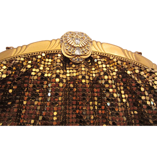 WHITING & DAVIS Gold Mesh Evening Bag with Jewelled Clasp