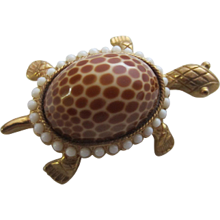 J.J. Turtle Brooch with Genuine Spotted Seashell