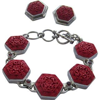 Beautiful Carved Red Cinnabar and Garnet Bracelet and Matching Earrings Set in Sterling Silver, Marianna Richard Design