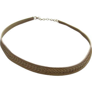 CHRISTIAN DIOR Real Look Gold Colour Mesh Chevron Necklace, c. 1970's