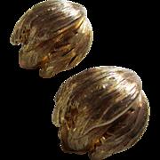 GROSSE Germany Gold Plated Raised Leaves Earrings, 1964