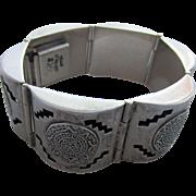 Aztec Calendar Shadow Box Signed Mexican Sterling Silver Bracelet, Pre Eagle Mark