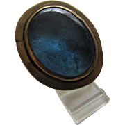 Rafael Canada Modernist Brutalist Handmade Ring with Blue Murano Glass Stone, c. 1970's