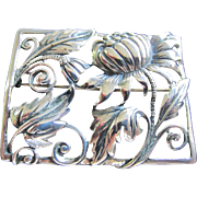 DANECRAFT Heavy Sterling Silver Scandinavian Style Poppy and Leaves Brooch, 1940's